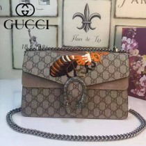 Gucci 400249-013 明星楊冪同款女士PVC配磨砂皮蜜蜂系列酒神包