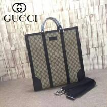 GUCCI 406387-3 潮流商務男士黑色皮配PVC手提單肩包公文包
