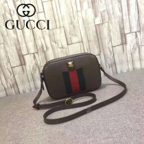 GUCCI 412009-2 專櫃新款虎頭設計土黃色全皮單肩斜挎包