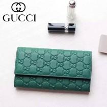Gucci 410100-04 名媛必備時尚新款綠色全皮壓花錢夾