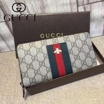 GUCCI 408831 專櫃新款刺繡蜜蜂咖啡色皮配PVC長款拉鏈錢包