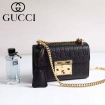 Gucci 409487-011 人氣熱銷潮流時尚款padlock系列全皮壓花大瑣扣小號鏈條包