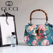 Gucci 409893-03 專櫃時尚新款印花系列竹節手提包