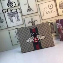 GUCCI 421666 潮流百搭新款刺繡蜜蜂咖啡色配PVC手拿包公文包化妝包