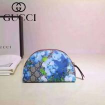 GUCCI 431380 輕便實用天竺葵系列藍色手拿包化妝包