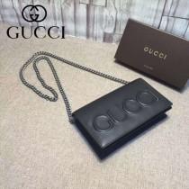 GUCCI 421850 人氣熱銷單品logo浮雕黑色全皮單肩斜挎包