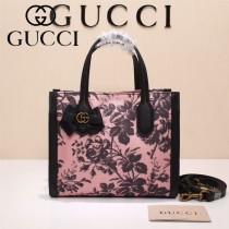 Gucci 432689-02 專櫃新款日韓地區限量發行爆款蝴蝶花紋布料配牛皮小號購物袋