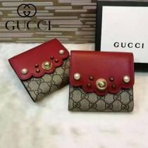 GUCCI 431480-2 潮流新款珍珠系列紅色配PVC搭扣短夾