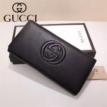 GUCCI 431893-2 時尚商務男女款雙G logo黑色摔紋三折錢包