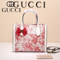 Gucci 432689-03 專櫃新款日韓地區限量發行爆款蝴蝶花紋布料配牛皮小號購物袋