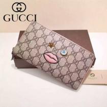 Gucci 481892-01 歐美時尚新款Gucci嘴巴系列PVC配粉色牛皮長夾