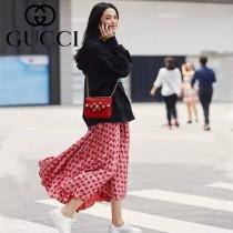 GUCCI 432281-4 明星姚晨同款珍珠系列紅色全皮單肩斜挎包