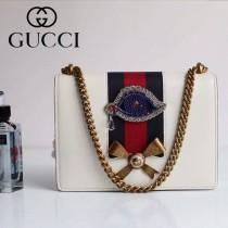 Gucci 432280-03 專櫃時尚新款進口牛皮peony系列鉆眼配飾中號肩背包
