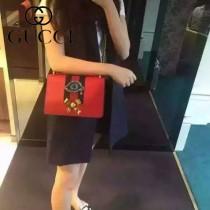 Gucci 432280-04 專櫃時尚新款進口牛皮peony系列鉆眼配飾中號肩背包