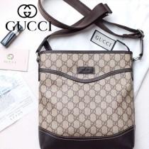Gucci 481 專櫃時尚新款PVC防水面料配牛皮男士斜挎包