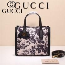 Gucci 432689-01 專櫃新款日韓地區限量發行爆款蝴蝶花紋布料配牛皮小號購物袋