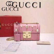 GUCCI 432182 專櫃最新款padlock珍珠系列粉色全皮單肩斜挎包
