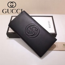 GUCCI 431893 時尚商務男女款雙G logo黑色平紋三折錢包
