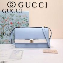 GUCCI 432680 專櫃最新款蝴蝶結藍配白全皮單肩斜挎包