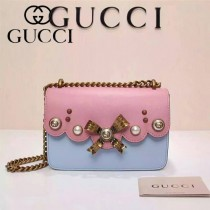GUCCI 432281-3 秋冬季珍珠系列粉配藍全皮單肩斜挎包