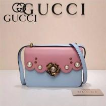 Gucci 432682 專櫃新款金色牡丹花中央配以玻璃珍珠配真皮女士單肩包