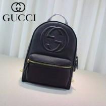 Gucci 431570-01 專櫃時尚新款進口軟質牛皮中號雙肩包