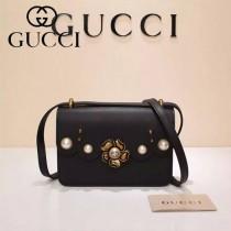 Gucci 432682-01 專櫃新款金色牡丹花中央配以玻璃珍珠配真皮女士單肩包