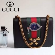 Gucci 432280-05 專櫃時尚新款進口牛皮peony系列鉆眼配飾中號肩背包