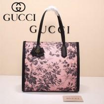 Gucci 432684-01 專櫃新款日韓地區限量發行爆款蝴蝶花紋布料配牛皮大號購物袋