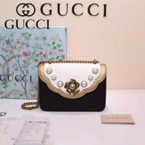 GUCCI 432282-3 秋冬季珍珠系列白配黑全皮大號單肩斜挎包