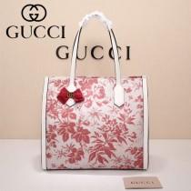 Gucci 432684 專櫃新款日韓地區限量發行爆款蝴蝶花紋布料配牛皮大號購物袋
