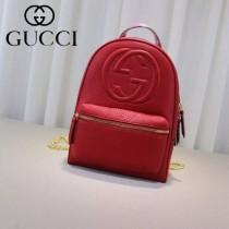 Gucci 431570 專櫃時尚新款進口軟質牛皮中號雙肩包