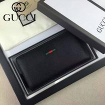 Gucci 435298 專櫃時尚新款黑色進口豬紋牛皮拉鏈錢包