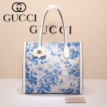 Gucci 432684-02 專櫃新款日韓地區限量發行爆款蝴蝶花紋布料配牛皮大號購物袋