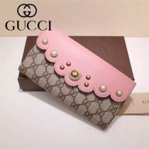 GUCCI 431474-2 名媛淑女風Peony珍珠系列粉色配PVC長款錢包