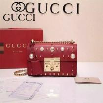 GUCCI 432182-4 專櫃最新款padlock珍珠系列紅色全皮單肩斜挎包