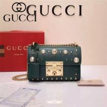 GUCCI 432182-2 專櫃最新款padlock珍珠系列綠色全皮單肩斜挎包