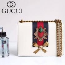 Gucci 432280 專櫃時尚新款進口牛皮peony系列草莓配飾中號肩背包