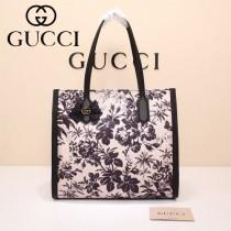 Gucci 432684-03 專櫃新款日韓地區限量發行爆款蝴蝶花紋布料配牛皮大號購物袋