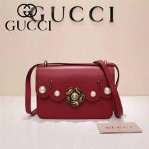 Gucci 432682-02 專櫃新款金色牡丹花中央配以玻璃珍珠配真皮女士單肩包