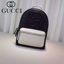 Gucci 431570-03 專櫃時尚新款進口軟質牛皮中號雙肩包