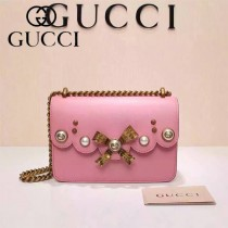 GUCCI 432281 秋冬季珍珠系列粉色全皮單肩斜挎包