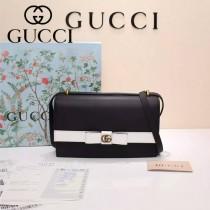 GUCCI 432680-2 專櫃最新款蝴蝶結黑配白全皮單肩斜挎包