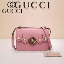 Gucci 432682-03 專櫃新款金色牡丹花中央配以玻璃珍珠配真皮女士單肩包