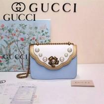 GUCCI 432282-2 秋冬季珍珠系列白配藍全皮大號單肩斜挎包