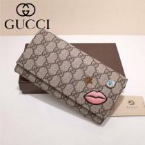 GUCCI 431394 時尚熱銷女士刺繡嘴巴櫻花粉配PVC長款錢包
