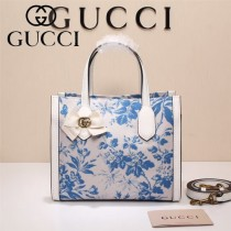 Gucci 432689 專櫃新款日韓地區限量發行爆款蝴蝶花紋布料配牛皮小號購物袋