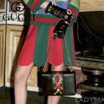 Gucci 432280-02 專櫃時尚新款進口牛皮peony系列草莓配飾中號肩背包