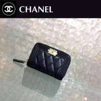 CHANEL 0356-2 輕便實用黑色原版魚子醬金扣拉鏈零錢包卡包