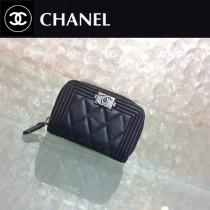 CHANEL 0356 輕便實用黑色原版羊皮銀扣拉鏈零錢包卡包